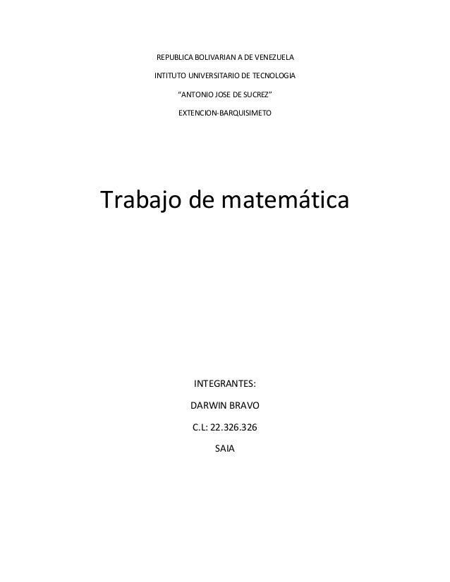 "REPUBLICA BOLIVARIAN A DE VENEZUELA  INTITUTO UNIVERSITARIO DE TECNOLOGIA  ""ANTONIO JOSE DE SUCREZ""  EXTENCION-BARQUISIMET..."