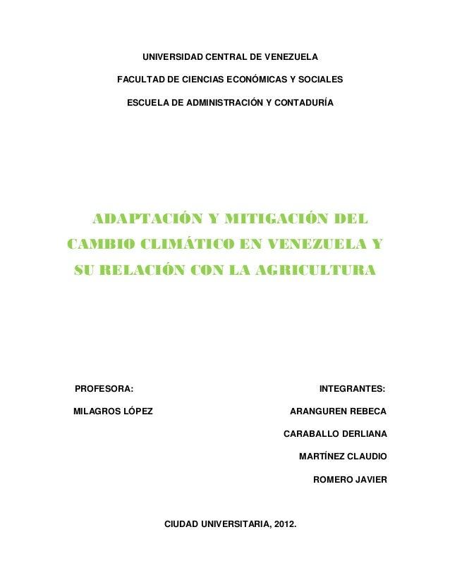 UNIVERSIDAD CENTRAL DE VENEZUELA       FACULTAD DE CIENCIAS ECONÓMICAS Y SOCIALES         ESCUELA DE ADMINISTRACIÓN Y CONT...