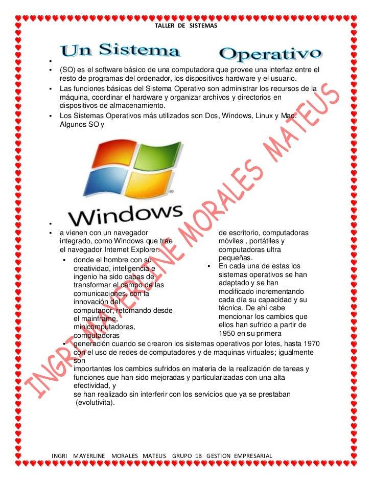(SO) es el software básico de una computadora que provee una interfaz entre el resto de programas del ordenador, los dispo...