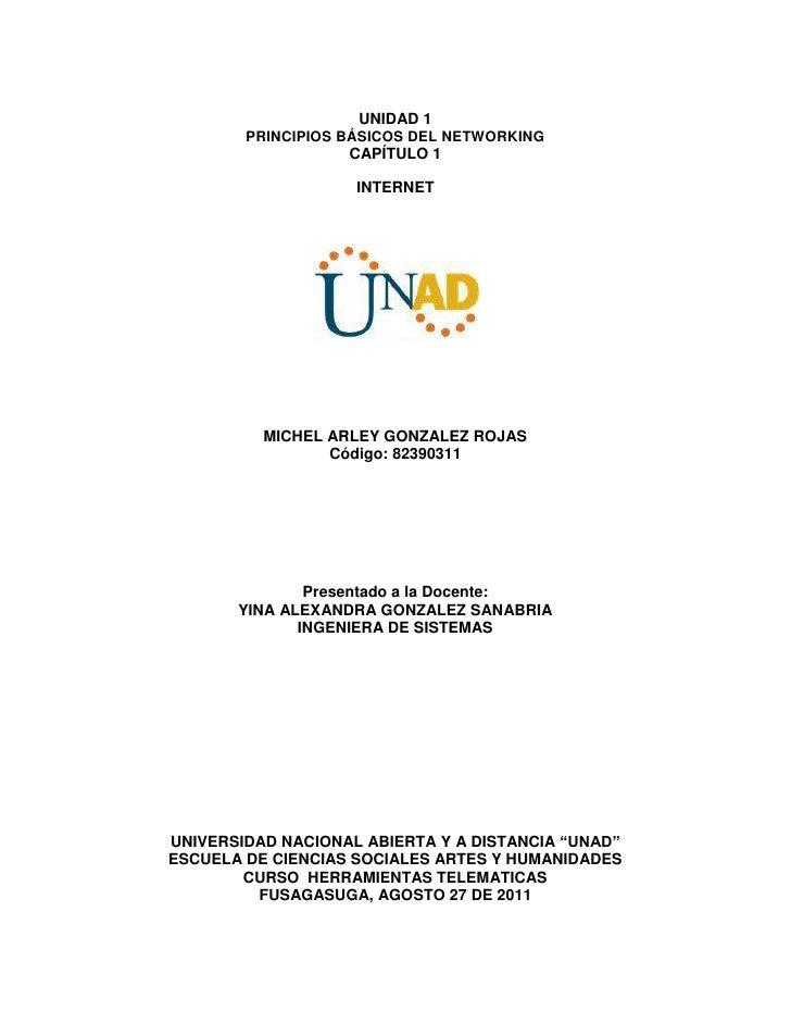 UNIDAD 1<br />PRINCIPIOS BÁSICOS DEL NETWORKING <br />CAPÍTULO 1 <br />INTERNET<br />MICHEL ARLEY GONZALEZ ROJAS<br />Códi...