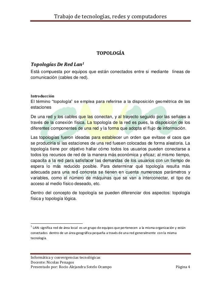 Trabajo de tecnologías, redes y computadores                                           TOPOLOGÍATopologías De Red Lan1Está...
