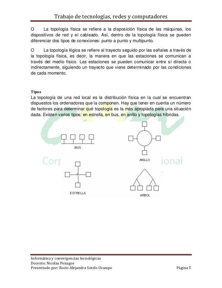 Trabajo de tecnologías, redes y computadoresO      La topología física se refiere a la disposición física de las máquinas,...