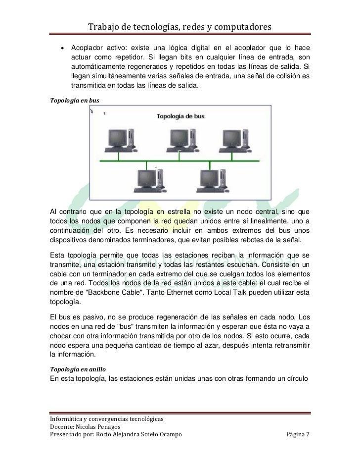 Trabajo de tecnologías, redes y computadores      Acoplador activo: existe una lógica digital en el acoplador que lo hace...