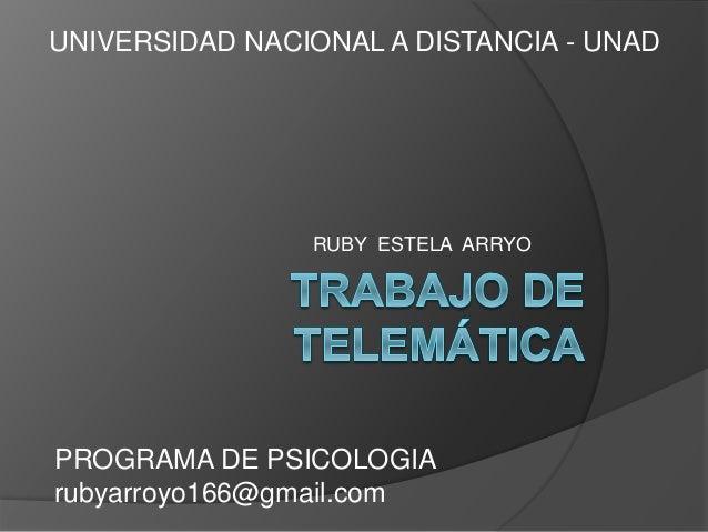 RUBY ESTELA ARRYO UNIVERSIDAD NACIONAL A DISTANCIA - UNAD PROGRAMA DE PSICOLOGIA rubyarroyo166@gmail.com