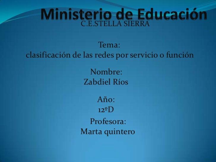 C.E.STELLA SIERRA                      Tema:clasificación de las redes por servicio o función                 Nombre:     ...