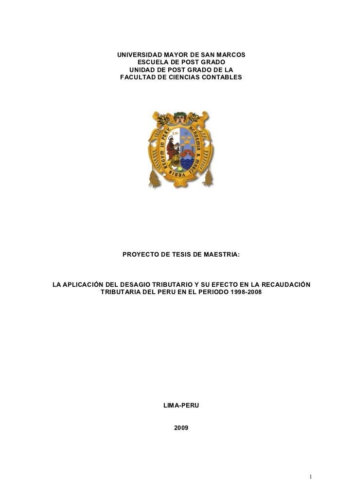 UNIVERSIDAD MAYOR DE SAN MARCOS                      ESCUELA DE POST GRADO                    UNIDAD DE POST GRADO DE LA  ...