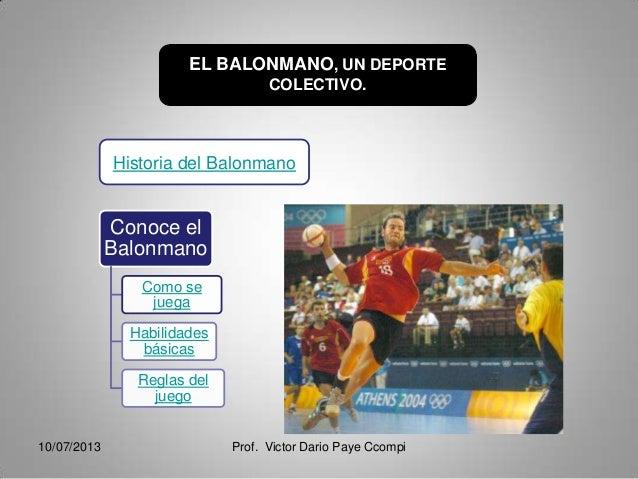EL BALONMANO, UN DEPORTE COLECTIVO. Conoce el Balonmano Como se juega Habilidades básicas Reglas del juego Historia del Ba...