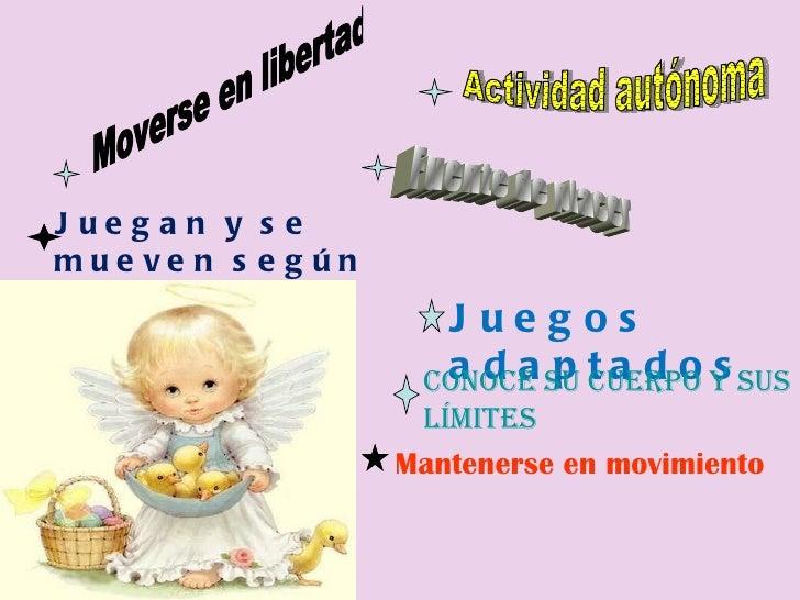 Moverse en libertad Actividad autónoma Fuente de placer Juegan y se mueven según sus necesidades Juegos adaptados Conoce s...