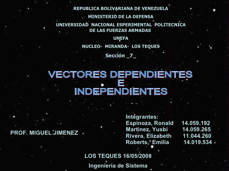 REPUBLICA BOLIVARIANA DE VENEZUELA MINISTERIO DE LA DEFENSA UNIVERSIDAD  NACIONAL ESPERIMENTAL  POLITECNICA DE LAS FUERZAS...