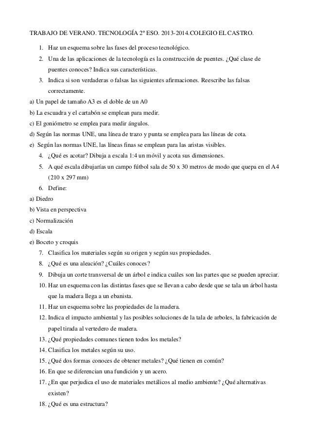 TRABAJO DE VERANO. TECNOLOGÍA 2º ESO. 2013-2014.COLEGIO EL CASTRO. 1. Haz un esquema sobre las fases del proceso tecnológi...