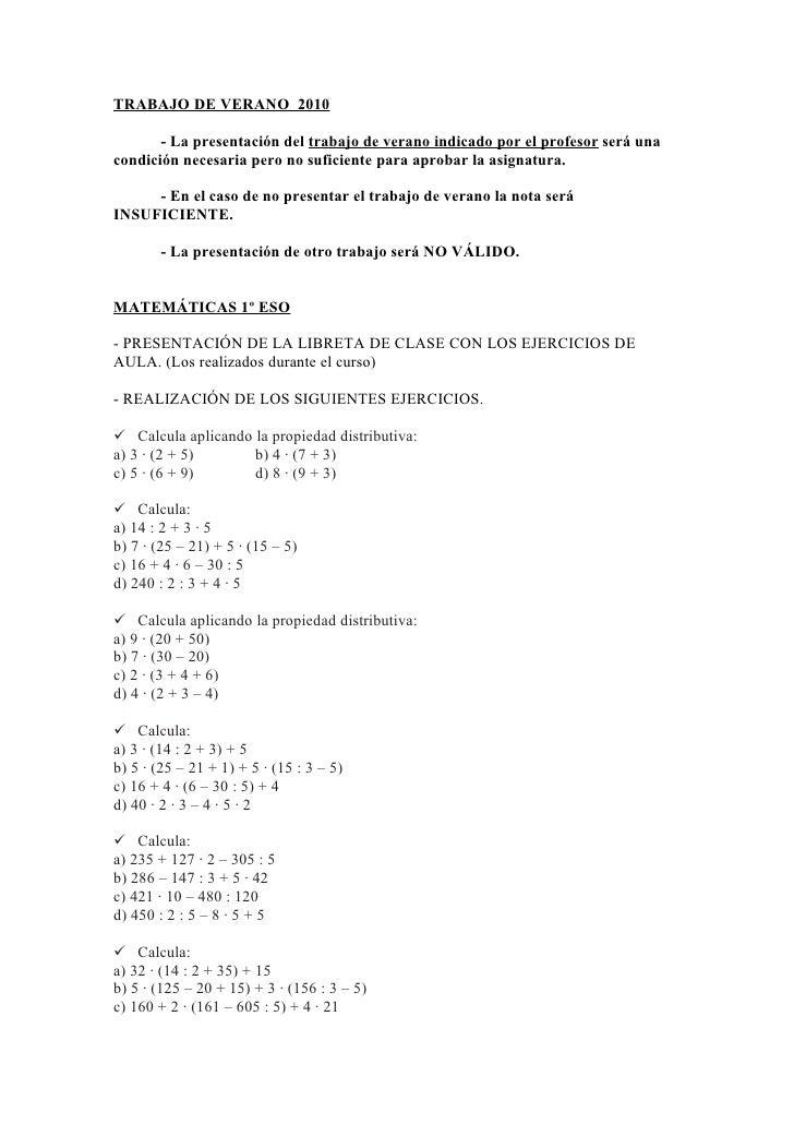 TRABAJO DE VERANO 2010         - La presentación del trabajo de verano indicado por el profesor será una condición necesar...