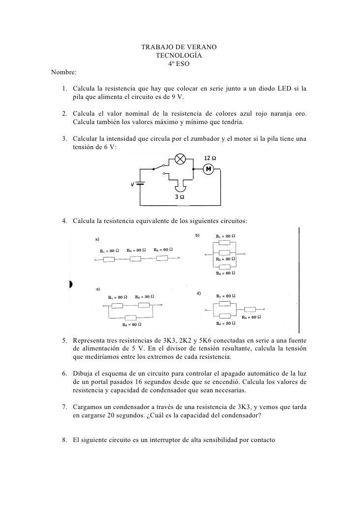 TRABAJO DE VERANO                                 TECNOLOGÍA                                    4º ESONombre:  1. Calcula ...