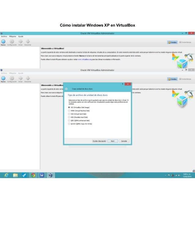 Cómo instalar Windows XP en VirtualBox