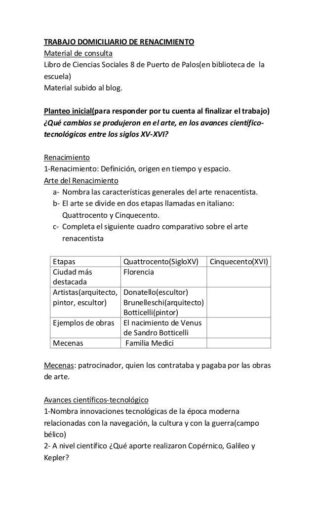 TRABAJO DOMICILIARIO DE RENACIMIENTO Material de consulta Libro de Ciencias Sociales 8 de Puerto de Palos(en biblioteca de...
