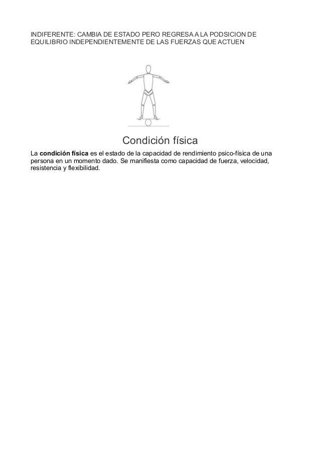 INDIFERENTE: CAMBIA DE ESTADO PERO REGRESA A LA PODSICION DEEQUILIBRIO INDEPENDIENTEMENTE DE LAS FUERZAS QUE ACTUENCondici...