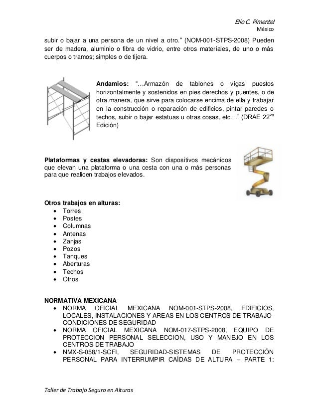 Trabajo en alturas e pimentel mexico for Escaleras nom 001