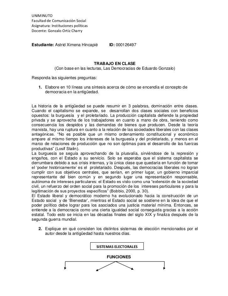 UNIMINUTOFacultad de Comunicación SocialAsignatura: Instituciones políticasDocente: Gonzalo Ortiz CharryEstudiante: Astrid...