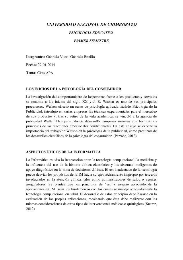 UNIVERSIDAD NACIONAL DE CHIMBORAZO PSICOLOGIA EDUCATIVA PRIMER SEMESTRE  Integrantes: Gabriela Viteri, Gabriela Bonilla Fe...