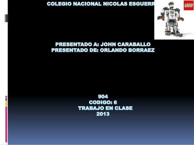 COLEGIO NACIONAL NICOLAS ESGUERRAPRESENTADO A: JOHN CARABALLOPRESENTADO DE: ORLANDO BORRAEZ904CODIGO: 6TRABAJO EN CLASE2013