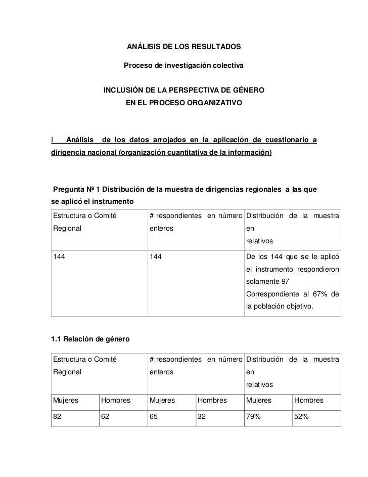 ANÁLISIS DE LOS RESULTADOS                        Proceso de investigación colectiva                  INCLUSIÓN DE LA PERS...