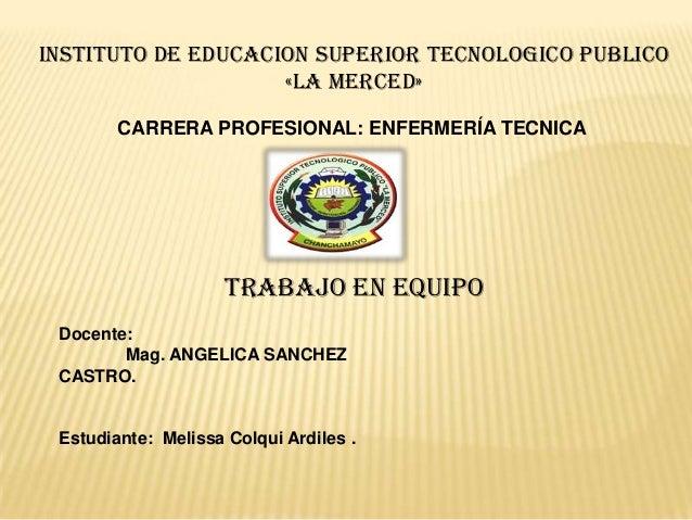 INSTITUTO DE EDUCACION SUPERIOR TECNOLOGICO PUBLICO                    «LA MERCED»        CARRERA PROFESIONAL: ENFERMERÍA ...