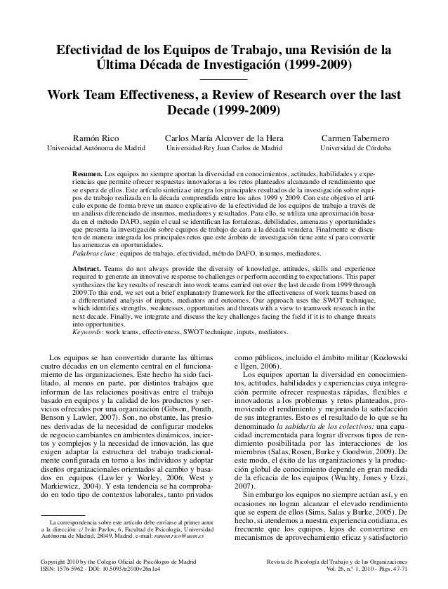 Revista de Psicología del Trabajo y de las Organizaciones Vol. 26, n.° 1, 2010 - Págs. 47-71 Copyright 2010 by the Colegio...