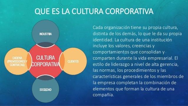 QUE ES LA CULTURA CORPORATIVA Cada organización tiene su propia cultura, distinta de los demás, lo que le da su propia ide...