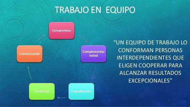 """TRABAJO EN EQUIPO """"UN EQUIPO DE TRABAJO LO CONFORMAN PERSONAS INTERDEPENDIENTES QUE ELIGEN COOPERAR PARA ALCANZAR RESULTAD..."""