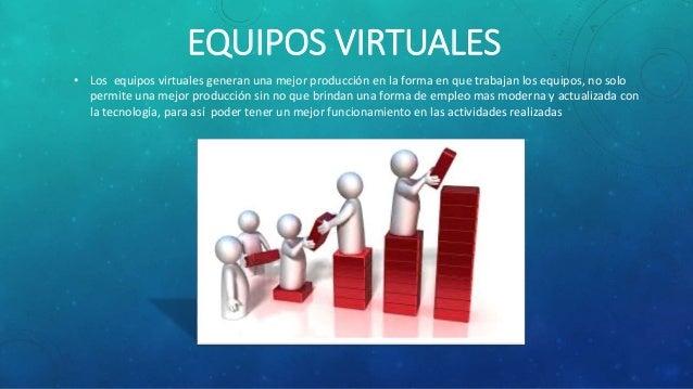 EQUIPOS VIRTUALES • Los equipos virtuales generan una mejor producción en la forma en que trabajan los equipos, no solo pe...