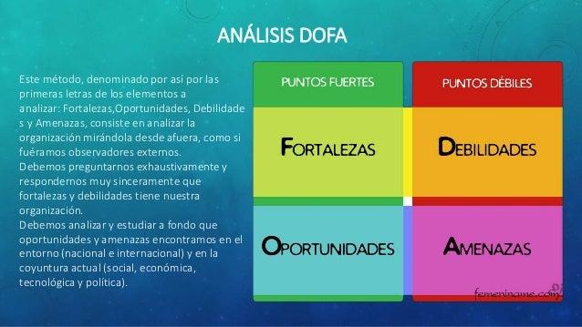ANÁLISIS DOFA Este método, denominado por así por las primeras letras de los elementos a analizar: Fortalezas,Oportunidade...