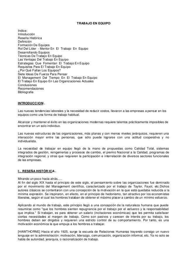 TRABAJO EN EQUIPOI Indice: Introducción Reseña Histórica Definición Formación De Equipos Rol Del Líder - Mentor En El Trab...