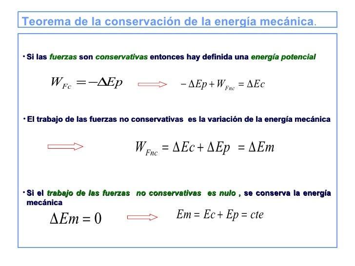 Teorema de la conservación de la energía mecánica . <ul><li>Si las  fuerzas  son  conservativas  entonces hay definida una...