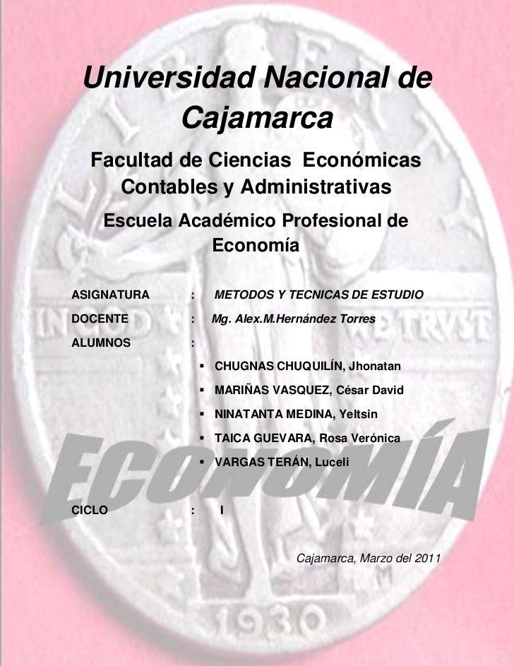 -1080770-1166495Universidad Nacional de             Cajamarca<br />Facultad de Ciencias  Económicas                       ...