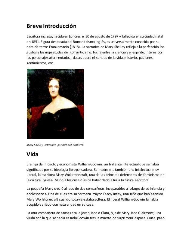Breve Introducción Escritora inglesa, nacida en Londres el 30 de agosto de 1797 y fallecida en su ciudad natal en 1851. Fi...