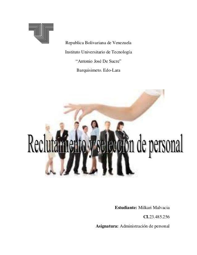 """Republica Bolivariana de Venezuela Instituto Universitario de Tecnología """"Antonio José De Sucre"""" Barquisimeto. Edo-Lara Es..."""