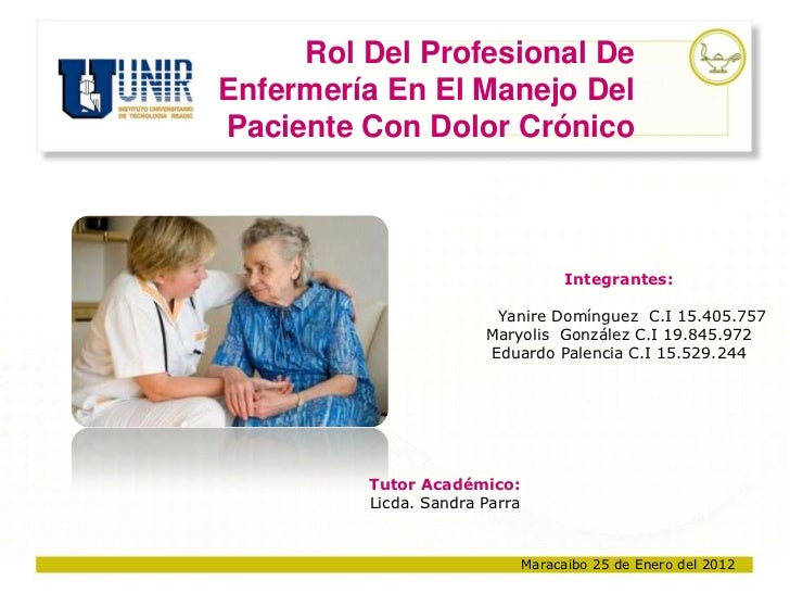 Rol Del Profesional DeEnfermería En El Manejo DelPaciente Con Dolor Crónico                                     Integrante...