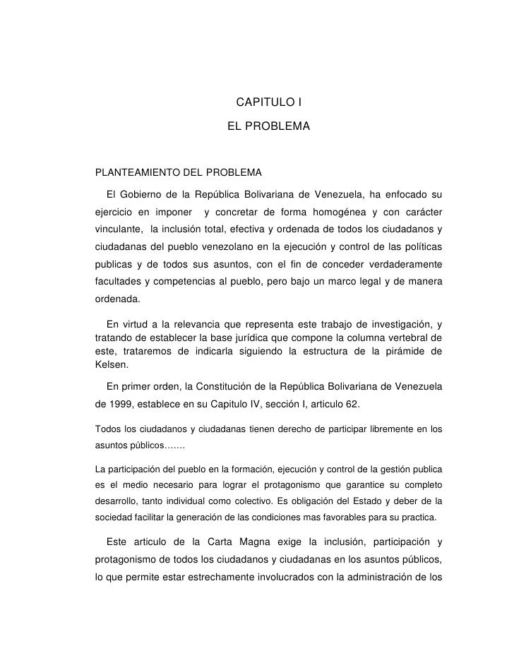 CAPITULO I<br />EL PROBLEMA<br />PLANTEAMIENTO DEL PROBLEMA<br />    El Gobierno de la República Bolivariana de Venezuela,...