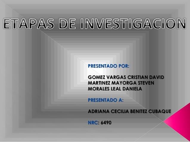 PRESENTADO POR: GOMEZ VARGAS CRISTIAN DAVID MARTINEZ MAYORGA STEVEN MORALES LEAL DANIELA PRESENTADO A: ADRIANA CECILIA BEN...