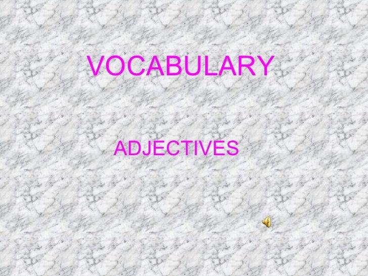 VOCABULARY ADJECTIVES