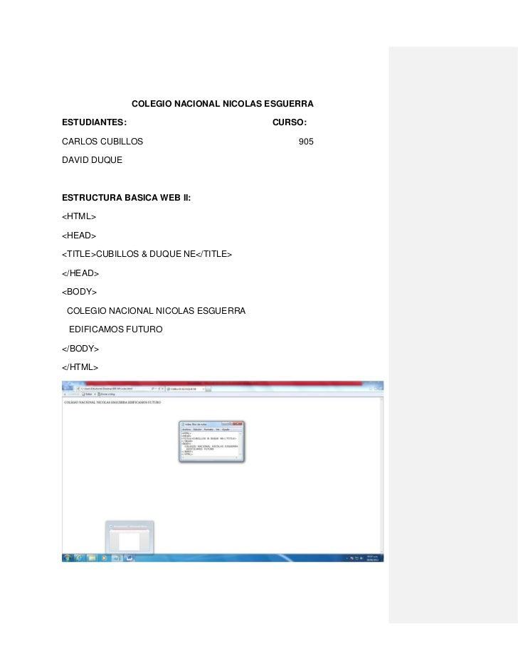 COLEGIO NACIONAL NICOLAS ESGUERRAESTUDIANTES:                            CURSO:CARLOS CUBILLOS                            ...