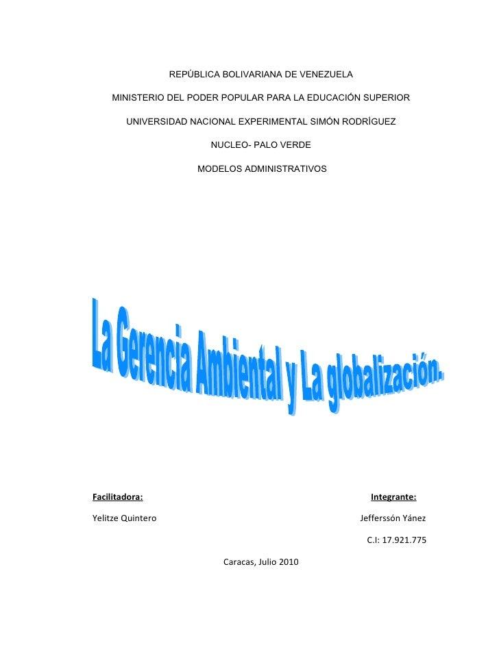 REPÚBLICA BOLIVARIANA DE VENEZUELA       MINISTERIO DEL PODER POPULAR PARA LA EDUCACIÓN SUPERIOR          UNIVERSIDAD NACI...