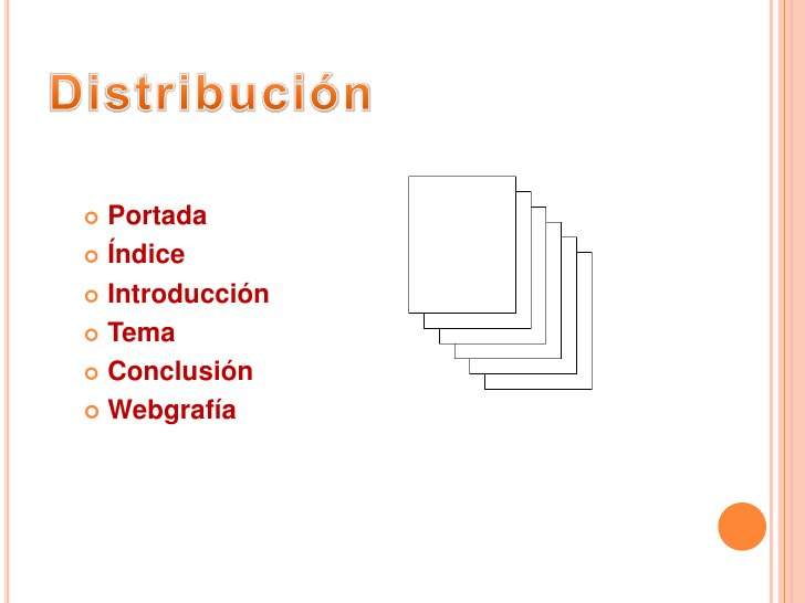 Distribución<br />Portada<br />Índice<br />Introducción<br />Tema<br />Conclusión<br />Webgrafía<br />