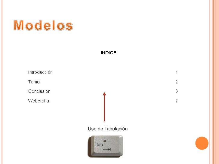 Modelos<br />Uso de Tabulación<br />