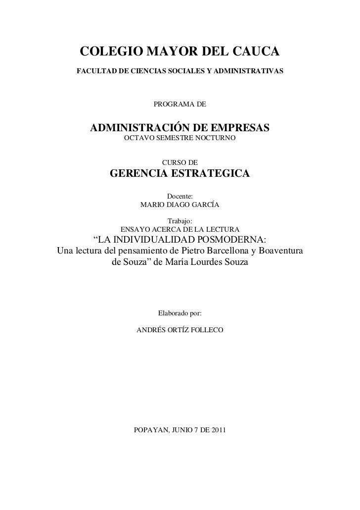COLEGIO MAYOR DEL CAUCA    FACULTAD DE CIENCIAS SOCIALES Y ADMINISTRATIVAS                        PROGRAMA DE        ADMIN...