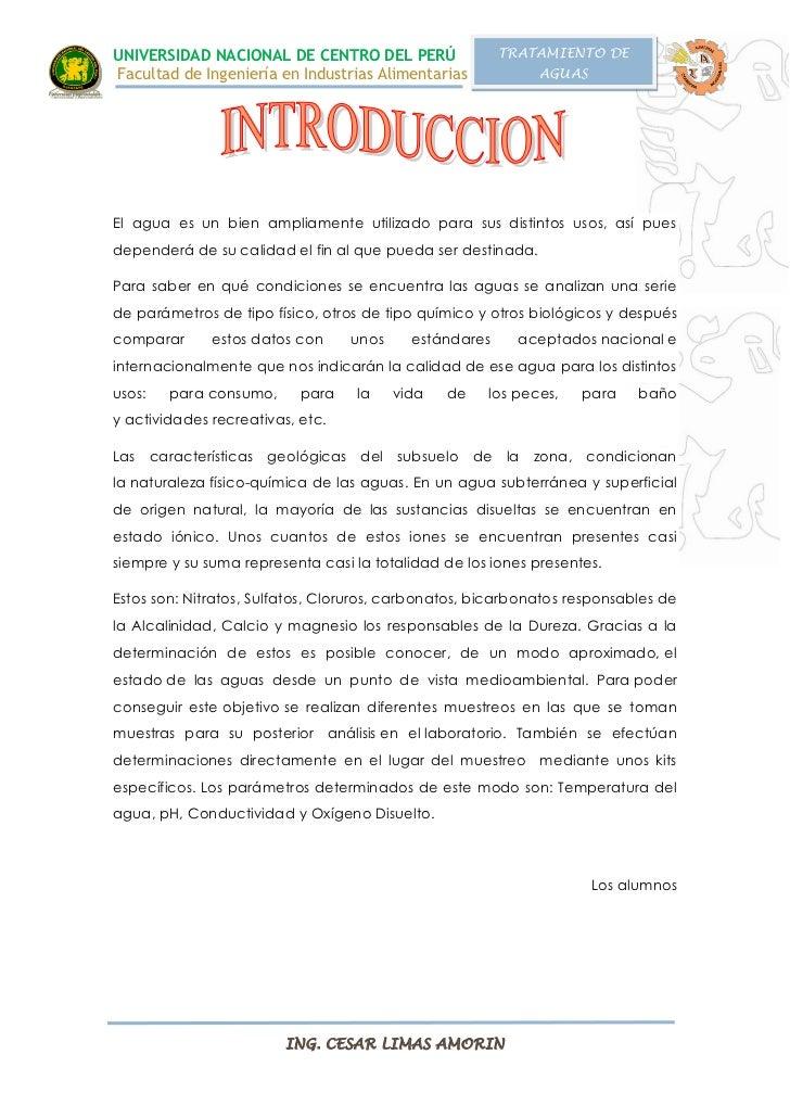 UNIVERSIDAD NACIONAL DE CENTRO DEL PERÚ                 TRATAMIENTO DEFacultad de Ingeniería en Industrias Alimentarias   ...
