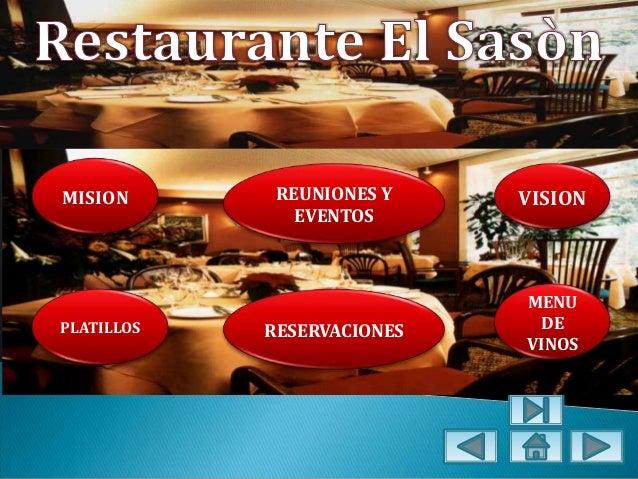 MISION       REUNIONES Y    VISION               EVENTOS                            MENUPLATILLOS   RESERVACIONES    DE   ...