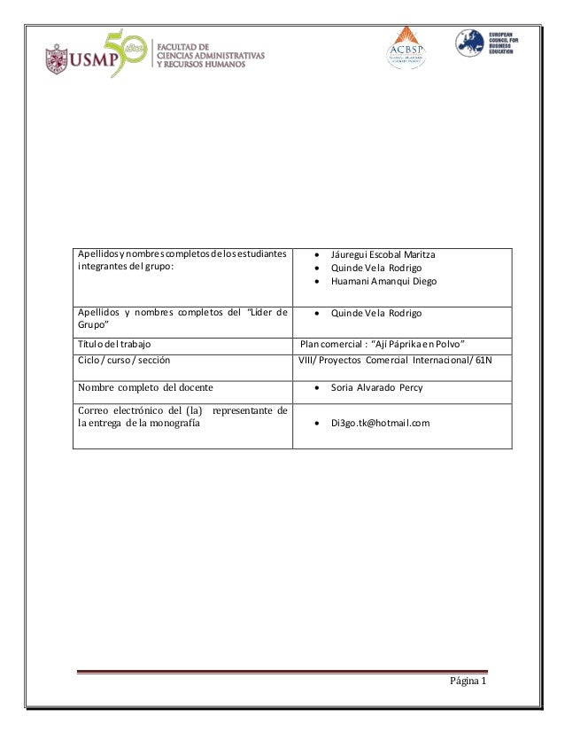 Página 1  Apellidos y nombres completos de los estudiantes  integrantes del grupo:   Jáuregui Escobal Maritza   Quinde V...