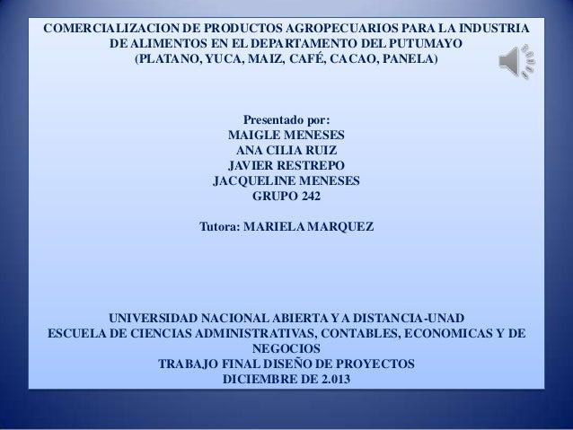 COMERCIALIZACION DE PRODUCTOS AGROPECUARIOS PARA LA INDUSTRIA DE ALIMENTOS EN EL DEPARTAMENTO DEL PUTUMAYO (PLATANO, YUCA,...