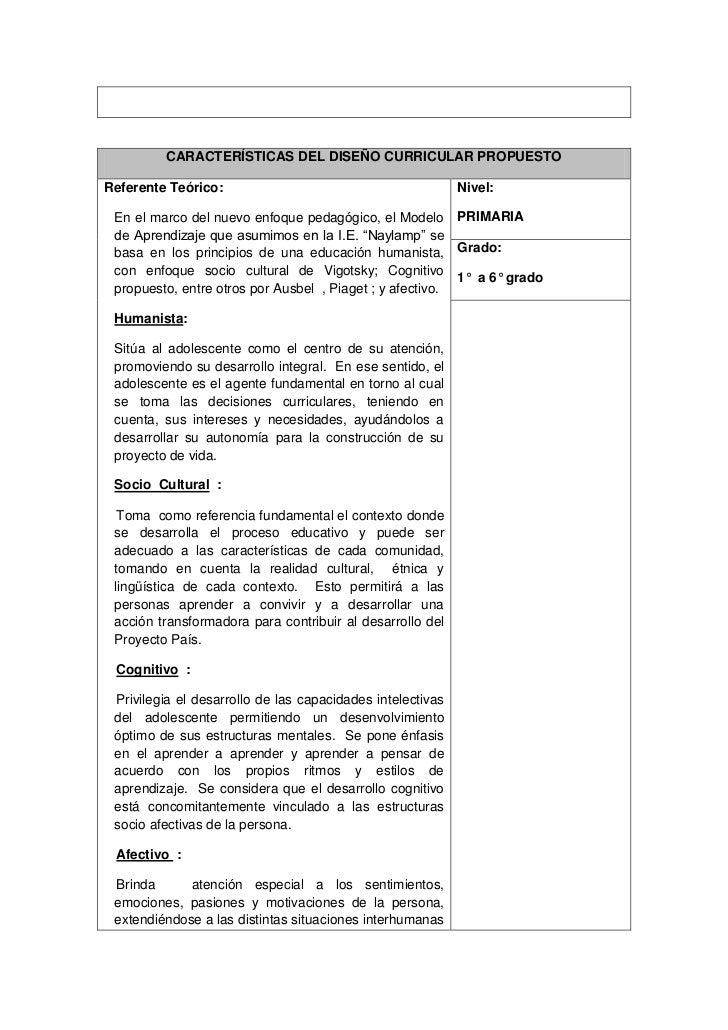 Propuesta del dise o curricular para educacion primaria for Diseno curricular primaria