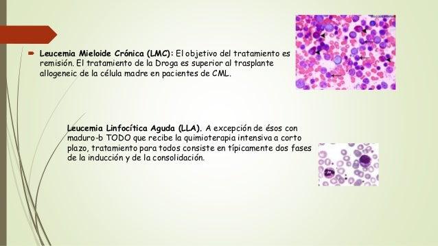  Leucemia Mieloide Crónica (LMC): El objetivo del tratamiento es remisión. El tratamiento de la Droga es superior al tras...
